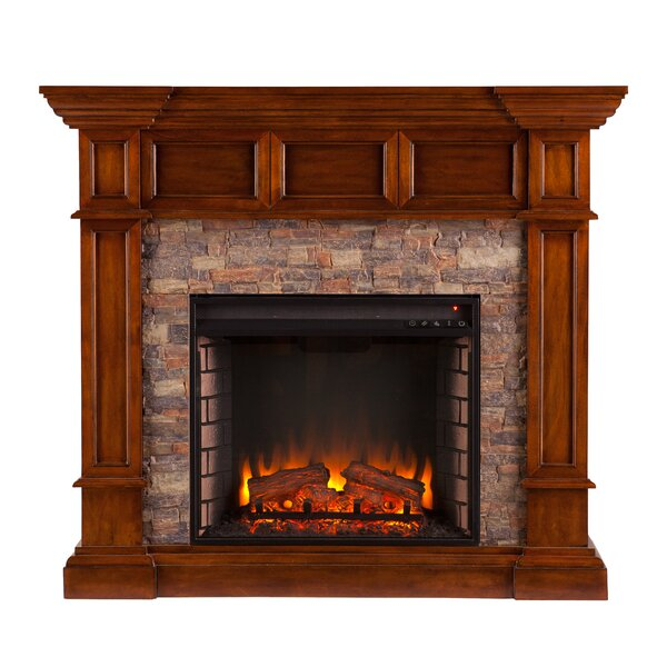 Sherrie Simulated Stone Convertible Electric Fireplace by Fleur De Lis Living