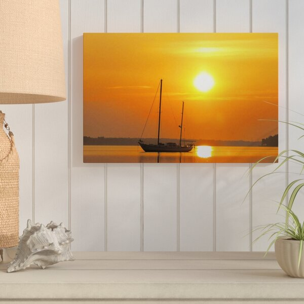 Sunrise Sail Boat Photographic Print on Wrapped Canvas by Breakwater Bay
