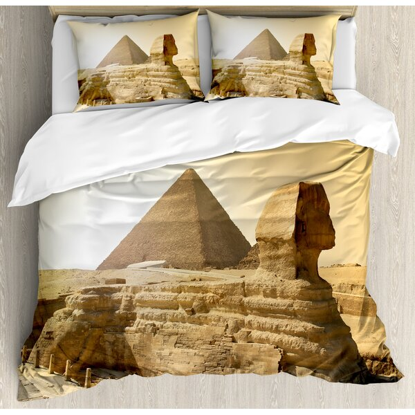 Ancient Egyptian Pyramids Famous Great Landmark Wonders of the World Heritage View Duvet Set by East Urban Home