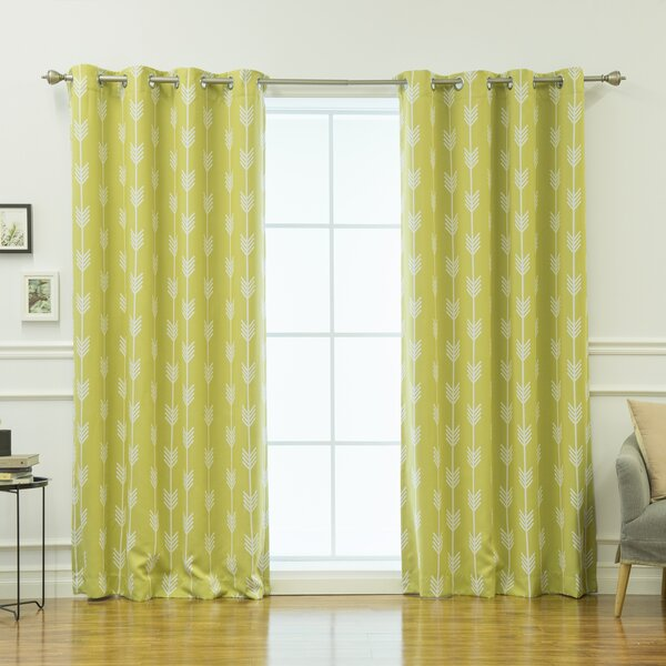 Kubik Striped Semi-Sheer Thermal Grommet Curtain Panels (Set of 2) by Mercury Row