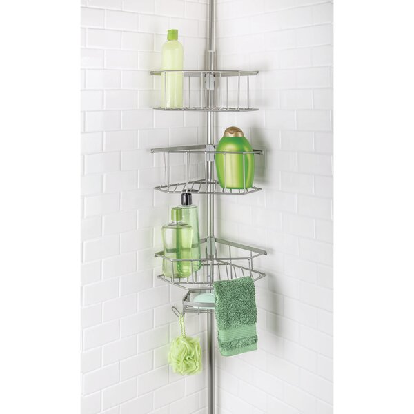 Aryan 3 Tier Corner Tension Pole Shower Caddy with Soap Dish by Rebrilliant
