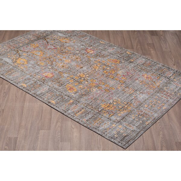 Lizette Chenille Vintage Cotton Gray/Gold Area Rug by Bungalow Rose