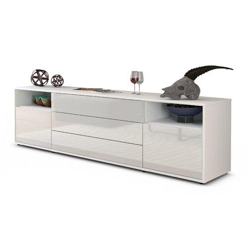 TV-Lowboard Devoe für TVs bis zu 42 Ebern Designs Farbe: Hochglanz Weiß/Matt Weiß | Wohnzimmer > TV-HiFi-Möbel | Ebern Designs