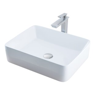 Best Price Ceramic Rectangular Vessel Bathroom Sink with Faucet By Novatto