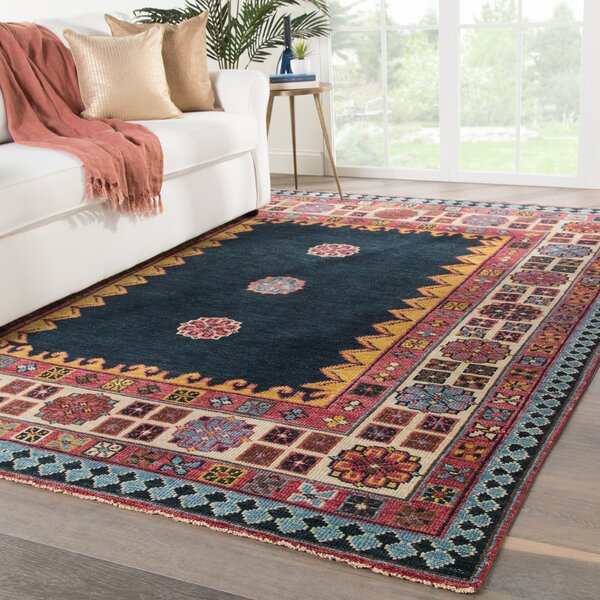 Eldon Border Hand-Knotted Wool Dark Blue/Pink Area Rug by Bloomsbury Market