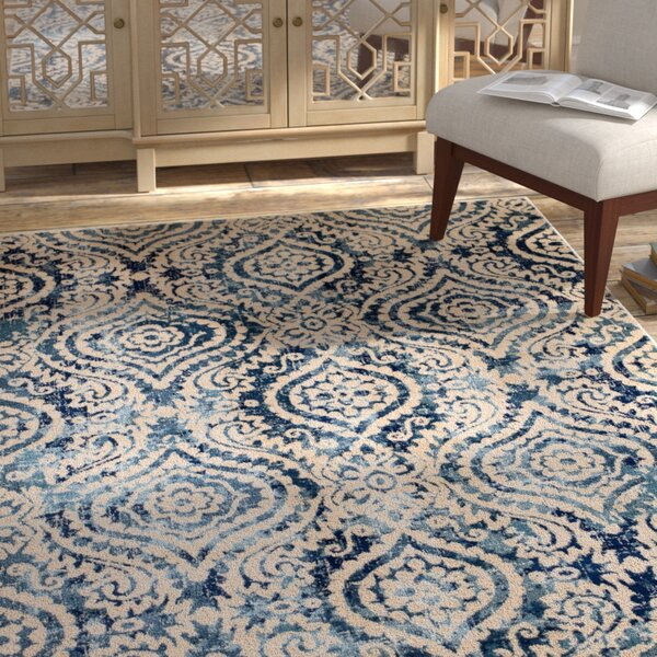Amy Royal Trellis Cream/Blue Area Rug by Bungalow Rose