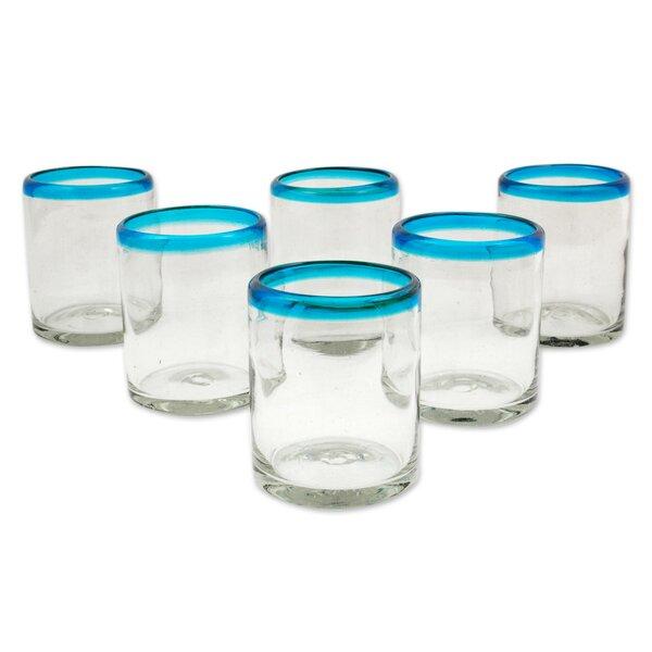 Aquamarine Kiss 8 oz. Juice Glass (Set of 6) by Novica