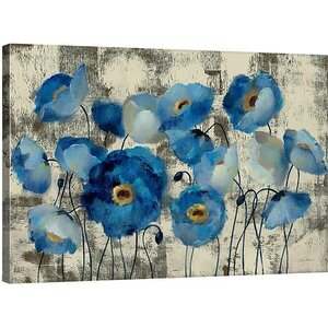 'Aquamarine Floral' Gallery Print on Wrapped Canvas by Andover Mills
