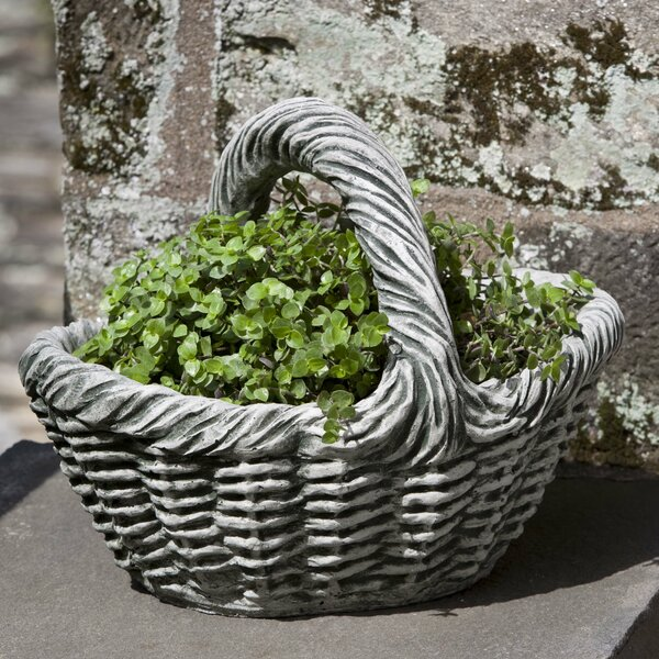 Basket with Handle Cast Stone Hanging Planter by Campania International