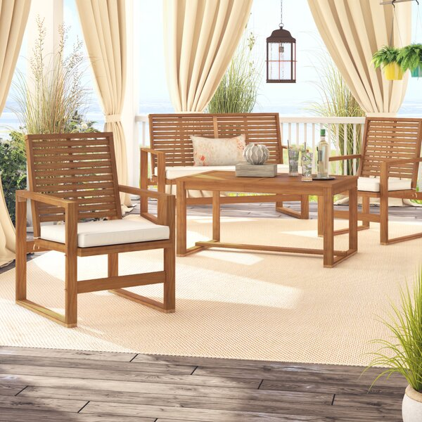 Evenson 4 Piece Sofa Seating Group with Cushions by Beachcrest Home