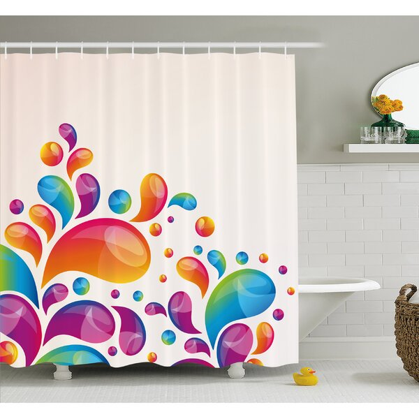 Cute Raindrops in Different Sizes in Gradient Colors Abstract Splash Style Shower Curtain Set by Ambesonne