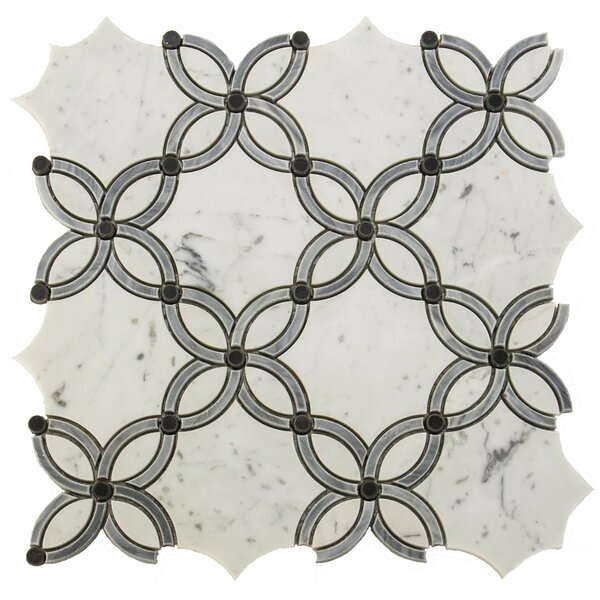 Water Jet Passion Random Sized Marble Mosaic Tile in White/Gray by Matrix Stone USA