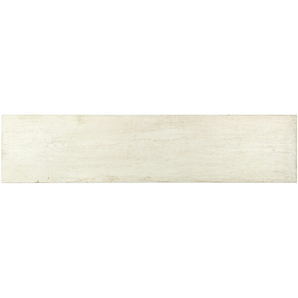 Lucky 9 x 40 Ceramic Wood Look Tile in Blanche by Splashback Tile