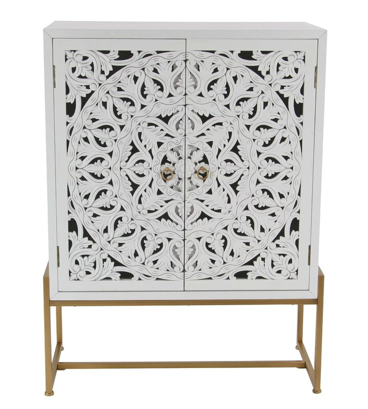Springhill Traditional Carved Wooden 2 Door Accent Cabinet