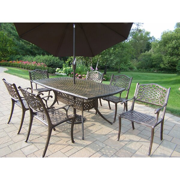 Mississippi 7 Piece Dinning Set with Umbrella by Oakland Living