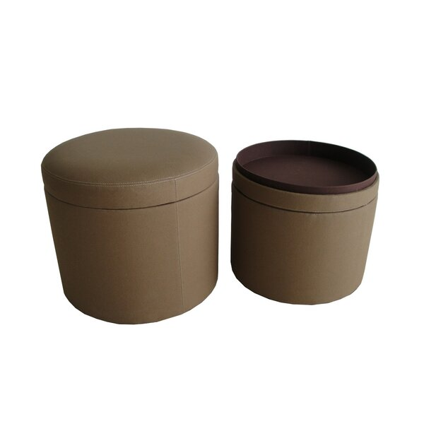 Friedman Canvas Round Storage Ottoman by Alcott Hill
