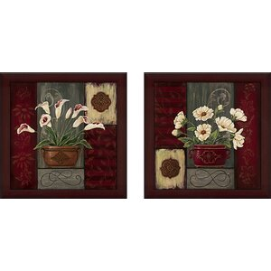 'Potted Tapestry IV' 2 Piece Framed Graphic Art Print Set Under Glass by Zipcode Design