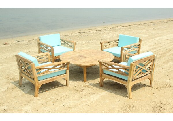 Lorenzo 5 Piece Teak Sunbrella Conversation Set with Cushions by Longshore Tides