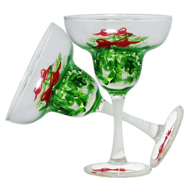 Drouin Mistletoe Margarita 12 oz. Glass Every Day Glass (Set of 2) by The Holiday Aisle