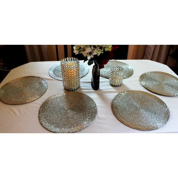 Artisan Glass Bead Braided Round Placemat (Set of 6) by GARIAN