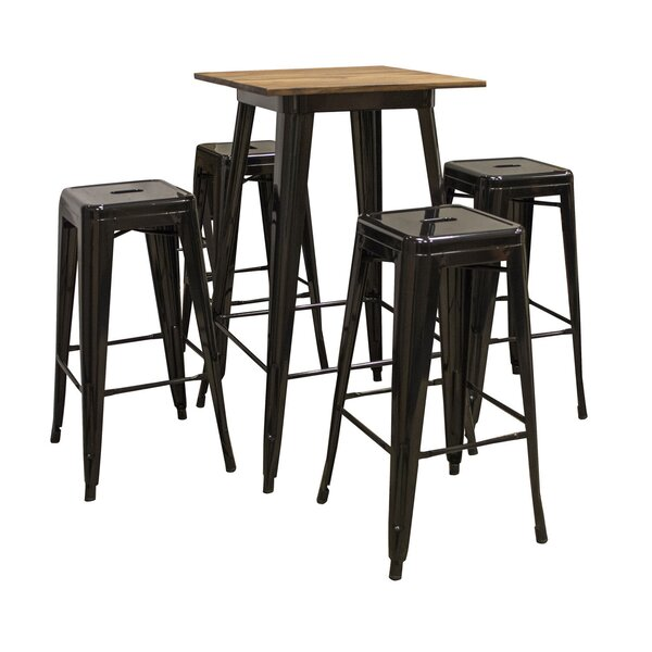Weisinger Pub 5 Piece Bar Height Solid Wood Dining Set by 17 Stories 17 Stories