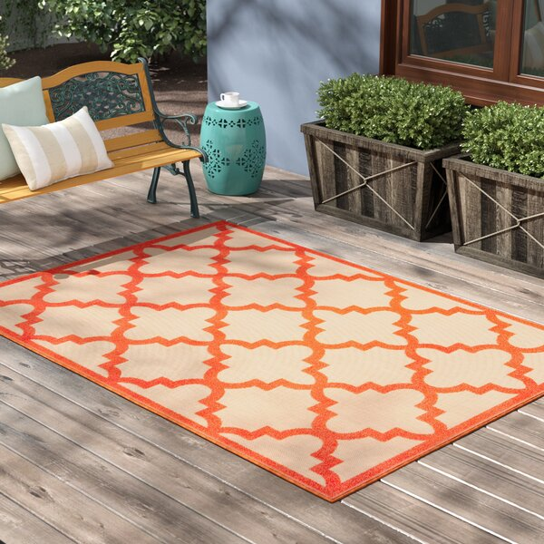 Winchcombe Sand/Orange Outdoor Area Rug by Charlton Home