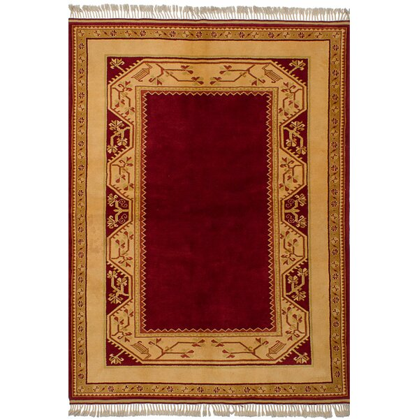 One-of-a-Kind Bettina Hand-Knotted Wool Dark Red Area Rug by Bloomsbury Market