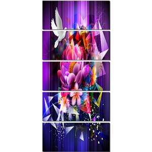 'Abstract Floral Design with Dove' 5 Piece Graphic Art on Canvas Set by Design Art