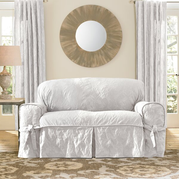 Matelasse Damask Box Cushion Loveseat Slipcover by Sure Fit