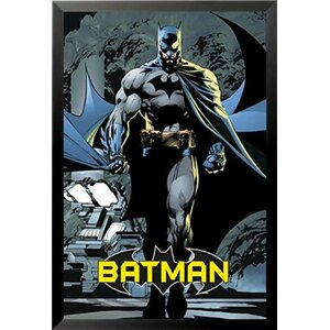 'Batman the Dark Knight Walking at Night Blue Comic - DC Comics Animation' Framed Vintage Advertisement by Buy Art For Less