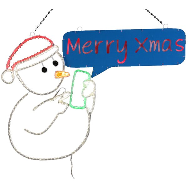 2-D LED Texting Snowman Christmas Decoration by Dyno Seasonal Solutions