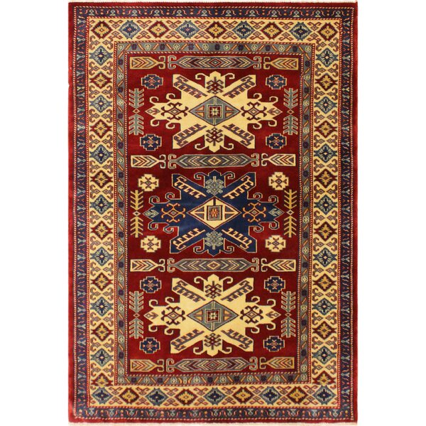 One-of-a-Kind Armillac Hand-Knotted Wool Red/Ivory Area Rug by Bloomsbury Market