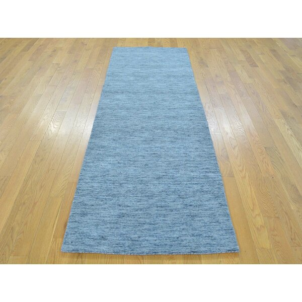 One-of-a-Kind Becker Denim Plush Handwoven Blue Wool Area Rug by Isabelline