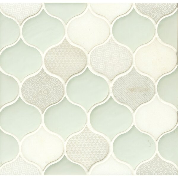 DuJour 10 x 10.5 Glass and Stone Mosaic Tile in White by Grayson Martin