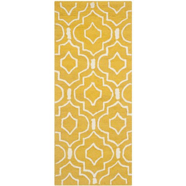 Martins Gold & Ivory Area Rug by Wrought Studio