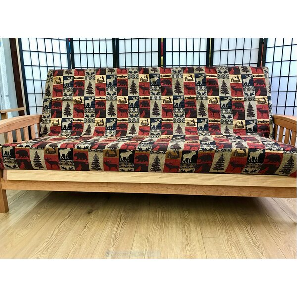 Premium Heavy Texture Box Cushion Futon Slipcover by Loon Peak