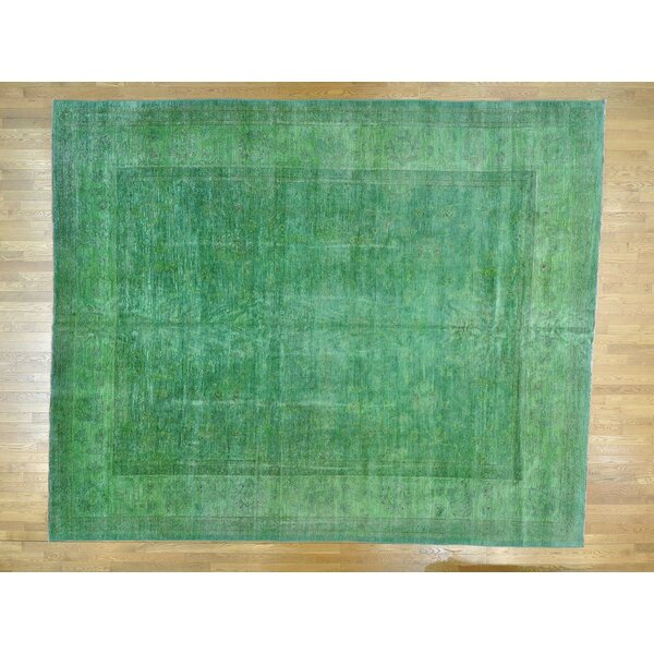 One-of-a-Kind Beaumont Overdyed Hand-Knotted Green Wool Area Rug by Isabelline