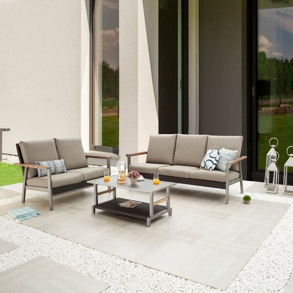 Seral Outdoor 3 Piece Sofa Seating Group with Cushions by Latitude Run