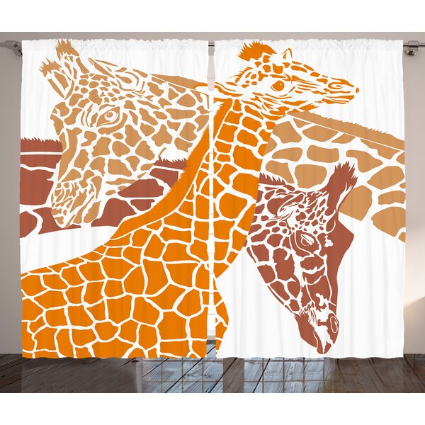 Huynh Giraffe Graphic Print and Text Semi-Sheer Rod Pocket Curtain Panels (Set of 2) by World Menagerie