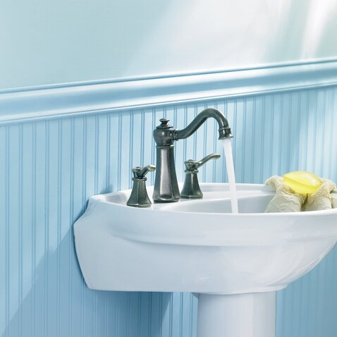 Vestige Widespread High Arc Bathroom Faucet with Optional Pop-Up Drain by Moen