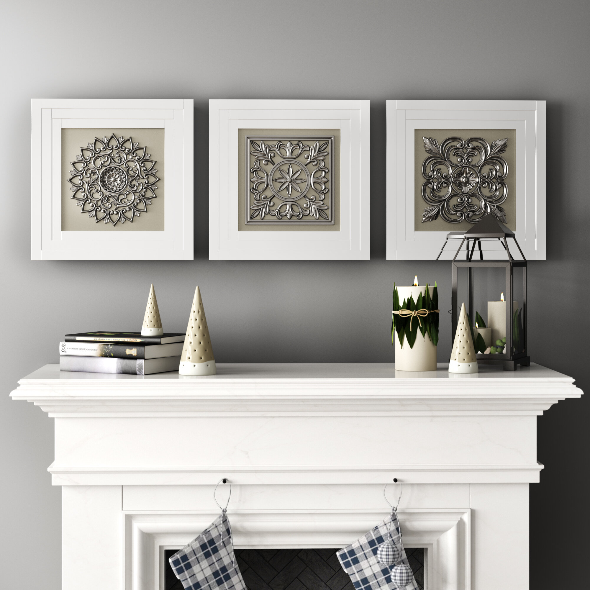 One Allium Way Elegant Styled Gray Metal Wall Art Set