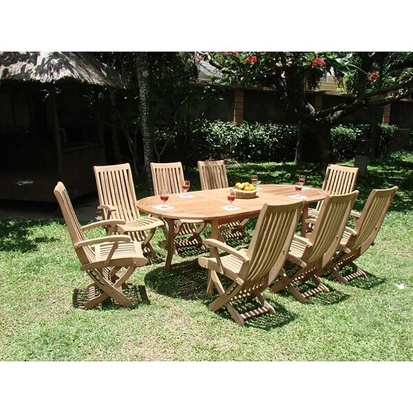 Melra Luxurious 9 Piece Teak Dining Set by Rosecliff Heights