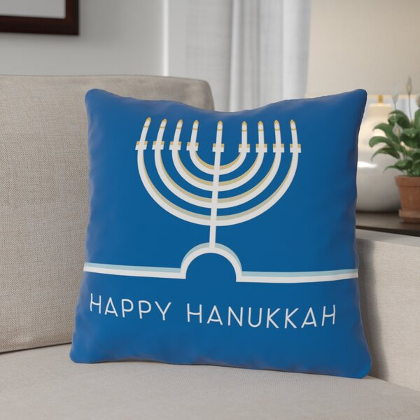 Happy Hanukkah Minimal Throw Pillow by The Holiday Aisle