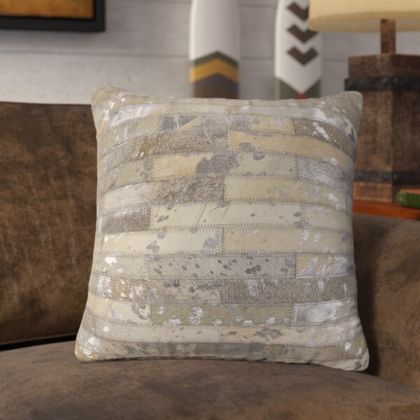 Linhart Leather Throw Pillow by Union Rustic