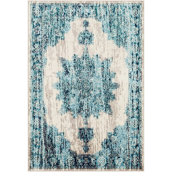 Ramsay Distressed Floral Bright Blue/Taupe Area Rug by Bungalow Rose