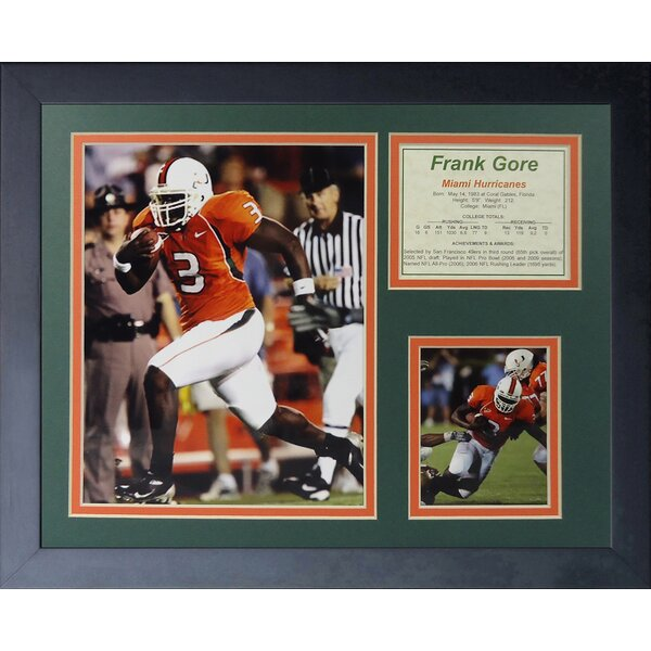 Frank Gore - Miami Hurricanes Framed Memorabilia by Legends Never Die