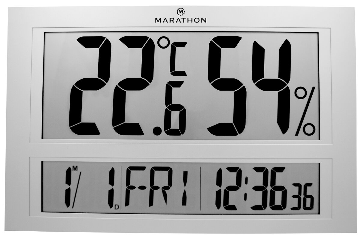 Marathon watch company jumbo indoor digital humidity monitor jumbo indoor digital humidity monitor hygrometer with clock and calendar amipublicfo Gallery