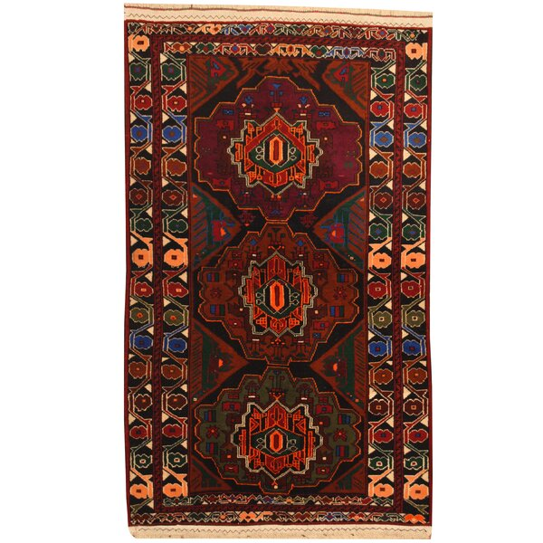 Prentice Hand-Knotted Navy/Burgundy Area Rug by Isabelline