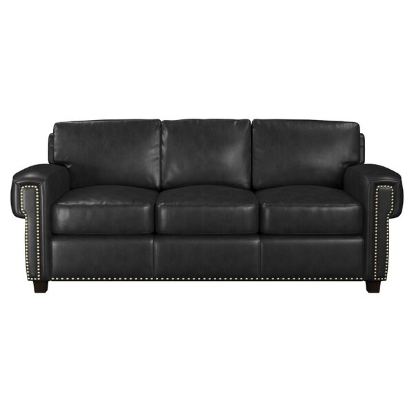Sioux Genuine Leather 86 Square Arm Sofa Bed