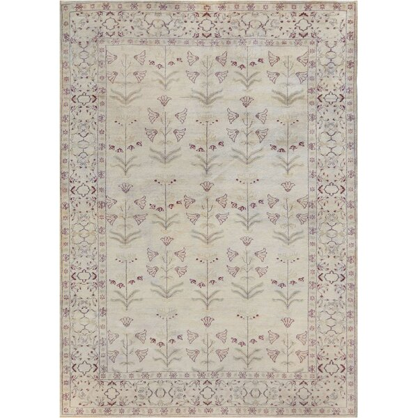 One-of-a-Kind Genuine Handwoven Wool Ivory Indoor Area Rug by Mansour